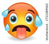hot emoji kawaii face. sweating ... | Shutterstock .eps vector #1721389063