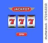jackpot triple seven in a blue... | Shutterstock .eps vector #1721413210