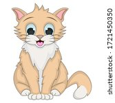 Cat Adorable And Funny Cartoon...
