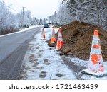 Orange Cones Warn Drivers Of A...
