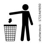 Man Throws Trash In The Basket. ...