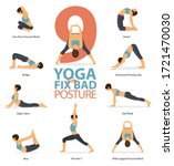 infographic of 9 yoga poses for ... | Shutterstock .eps vector #1721470030