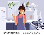 young mom cooking homemade meal.... | Shutterstock .eps vector #1721474143