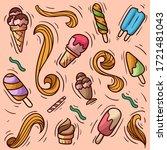 set ice cream doodle vector... | Shutterstock .eps vector #1721481043