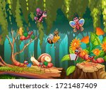 group of insect in fairy nature ... | Shutterstock .eps vector #1721487409