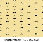 Bow Tie and Moustache Seamless Pattern - stock vector