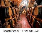 Wine In Wooden Barrels Is...