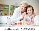portrait of happy girl and her...   Shutterstock . vector #172154489
