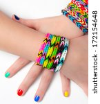loom bracelets on a young girl... | Shutterstock . vector #172154648