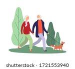 dog owners. elderly couple... | Shutterstock .eps vector #1721553940
