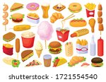 fast food isolated cartoon set... | Shutterstock .eps vector #1721554540