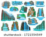 Waterfall isolated cartoon set icon. Vector cartoon set icon river cascade. Vector illustration waterfall on white background.