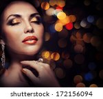 beautiful woman on the... | Shutterstock . vector #172156094