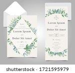 elegant foliage frame wedding... | Shutterstock .eps vector #1721595979
