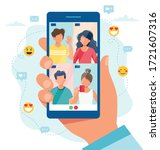 group call with friends  video... | Shutterstock .eps vector #1721607316