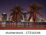 The dynamic Miami skyline at night and a couple of palm trees. - stock photo