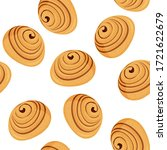 tasty cinnamon bun seamless... | Shutterstock .eps vector #1721622679