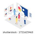 people in art gallery isometric ...   Shutterstock .eps vector #1721625463