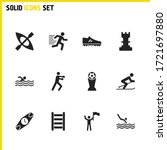 exercise icons set with flag...