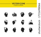 anatomy icons set with mental...