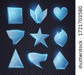 cartoon blue glass banners set. ...