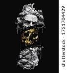Golden Skull Illustration. The...