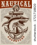 nautical vintage poster with... | Shutterstock .eps vector #1721718820