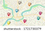 map city with gps pins.... | Shutterstock .eps vector #1721730379