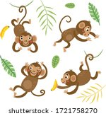 Cute And Funny Monkeys. Set Of...