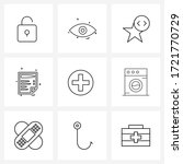 ui set of 9 basic line icons of ...