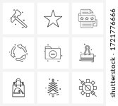 simple set of 9 line icons such ...