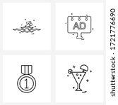 set of 4 universal line icons... | Shutterstock .eps vector #1721776690