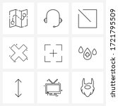 set of 9 simple line icons of...