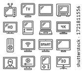 tv icons set on white... | Shutterstock .eps vector #1721811556