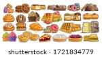 vector set of assorted desserts ...   Shutterstock .eps vector #1721834779