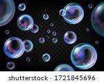 soap bubbles on transparent...   Shutterstock .eps vector #1721845696
