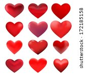 red 3d heart shapes as graphic... | Shutterstock .eps vector #172185158