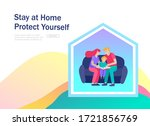 stay at home concept of... | Shutterstock .eps vector #1721856769