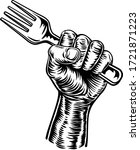 a fist hand holding a fork in a ... | Shutterstock .eps vector #1721871223