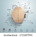 creative brain with drawing... | Shutterstock .eps vector #172187993
