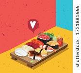 sushi maki japanese food bar  | Shutterstock .eps vector #1721881666