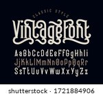 vintage vector font set with... | Shutterstock .eps vector #1721884906