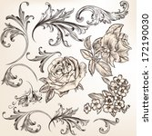 vector set of swirl and floral... | Shutterstock .eps vector #172190030