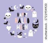 halloween hand drawn vector... | Shutterstock .eps vector #1721954920