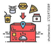 food delivery color line icon....