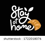 stay at home calligraphy logo... | Shutterstock .eps vector #1722018076