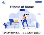 fitness at home flat landing... | Shutterstock .eps vector #1722041080