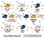 pattern with cartoon sheep ...   Shutterstock .eps vector #1722043633