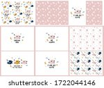 set of patterns with cartoon...   Shutterstock .eps vector #1722044146