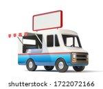 food truck witn blank signboard ... | Shutterstock . vector #1722072166